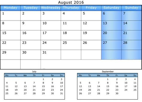 august 2016 calendars for word excel pdf image gallery july aug sept 2016