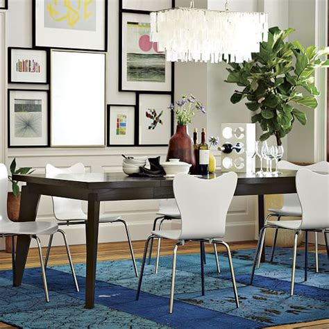 West Elm Dining Room Large Rectangle Hanging Capiz Chandelier White West Elm