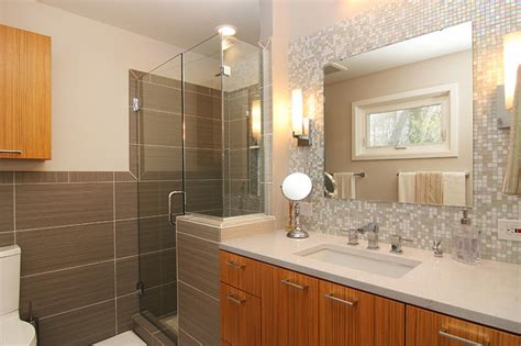 mosaic glass tile  splash vanity contemporary bathroom richmond