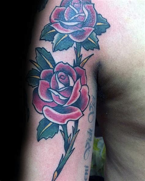 rose stem tattoos 50 traditional designs for flower ink ideas