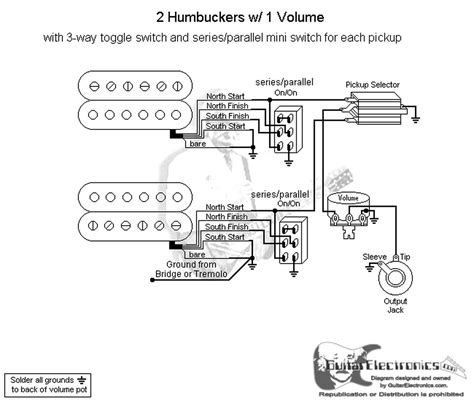 humbuckers  toggle switch volumeseries parallel