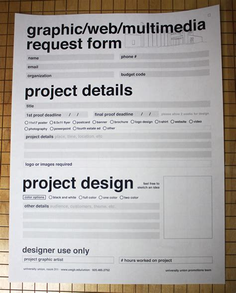 form template design uwgb graphic request form on behance