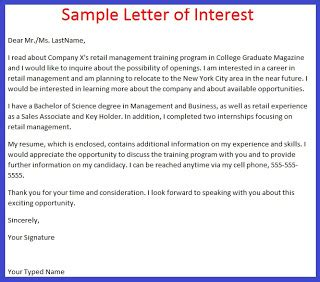 application letter exle application letter of interest exle