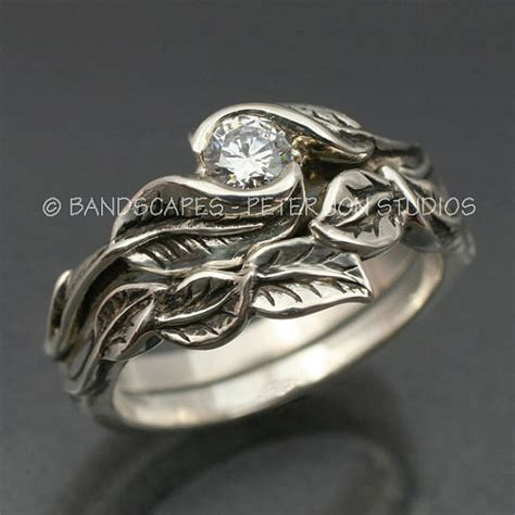 moissanite delicate leaf engagement ring  matching