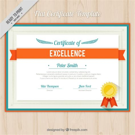Free Corel Studio Templates by Flat Certificate Template With Orange Ribbon Vector