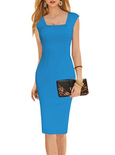 Sleeve Midi Sheath Dress midi length sheath dress sleeveless blue cap sleeve
