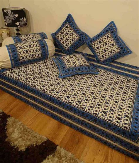 Diwan Sofa Set Heritage Blue Floral Cotton Diwan Set Single Bed Sheet W
