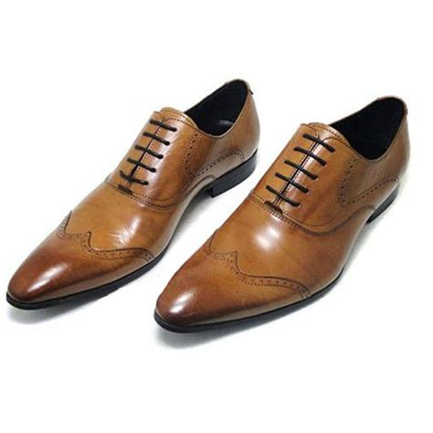mens oxford dress shoes oxford brown brogue slip on two tone wingtip boots