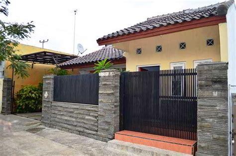model gambar desain pagar rumah minimalis besi batu alam