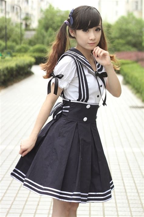japanese schoolgirl uniform kyandimeka sailor lolita navy dress lolita kawaii