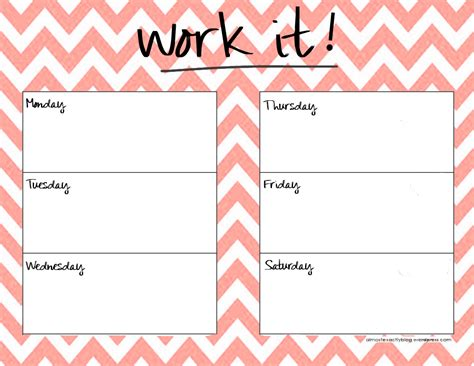 printable exercise organizer weekly workout schedule template google search just