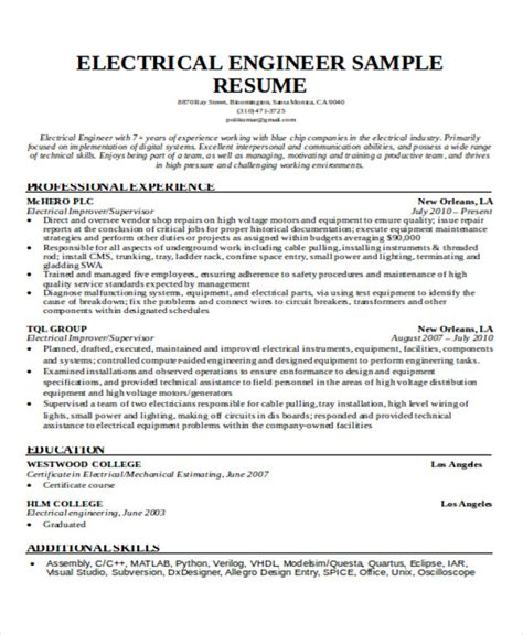 resume sle electrical engineering student 47 engineering resume sles pdf doc free premium templates