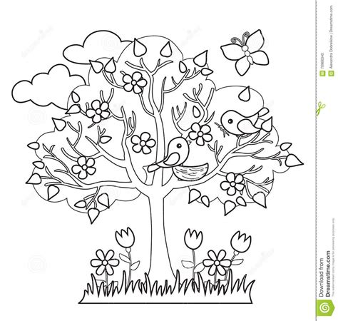 coloring pages of spring trees related keywords suggestions for seasonal signs