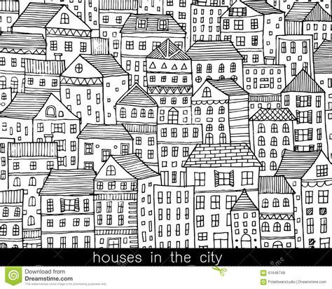 doodlebug doodlebug your house is on houses in the city sketch doodle style stock vector