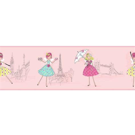 childrens borders for bedrooms uk buy fine decor vintage fairies hoopla wallpaper border pink