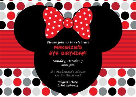 printable birthday cards minnie mouse diy printable minnie mouse birthday party invitation red