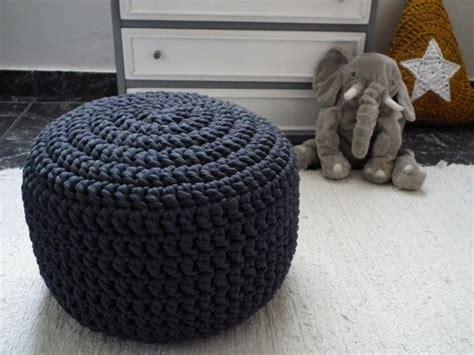 Black Crochet Round Pouf Foot Stool Pouf Crochet How To Crochet A Pouf Ottoman