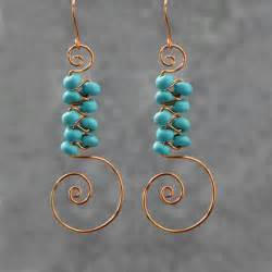 Handmade Wire Earrings Designs - turquoise scroll copper wire earrings handmade ani designs