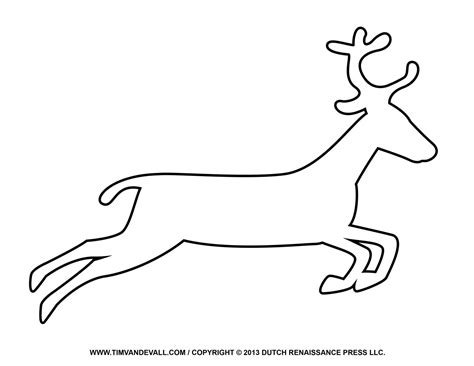 free reindeer clipart template printable coloring