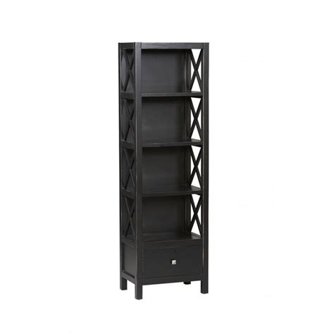 Tall Narrow 5 Shelf Bookcase In Antique Black K86102c124 Narrow Bookcase Black