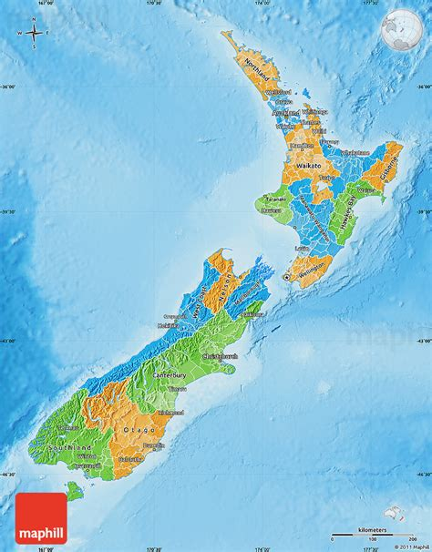 new zealand physical map political map of new zealand physical outside