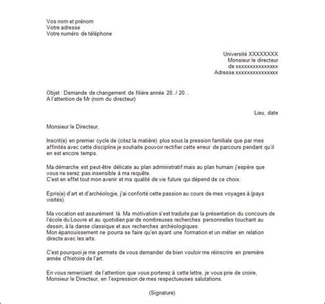 Lettre Demande De Stage Universitaire exemple de lettre de motivation changement de fili 232 re