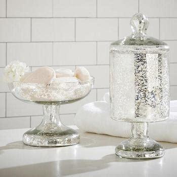 mercury glass bathroom etched mercury glass bath accessories pottery barn