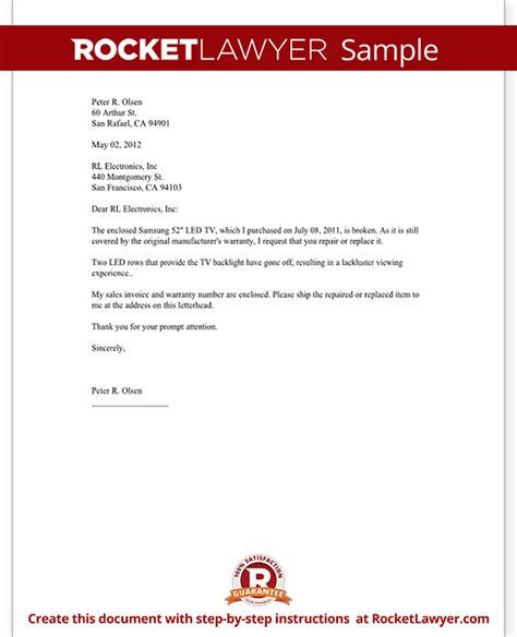 Insurance Warranty Letter Warranty Repair Request Letter Create A Free Template With Sle Letter