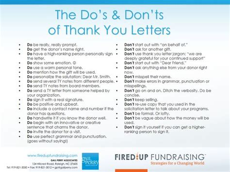 do and don ts of business letters the do s don ts of thank you letters fundraising