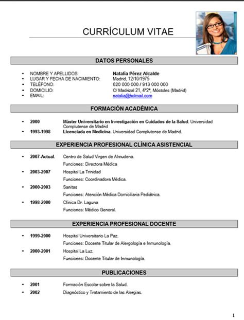 Plantillas De Curriculum Vitae Para Medicos Cv M 233 Dico Enfermera 68 Cvexpres