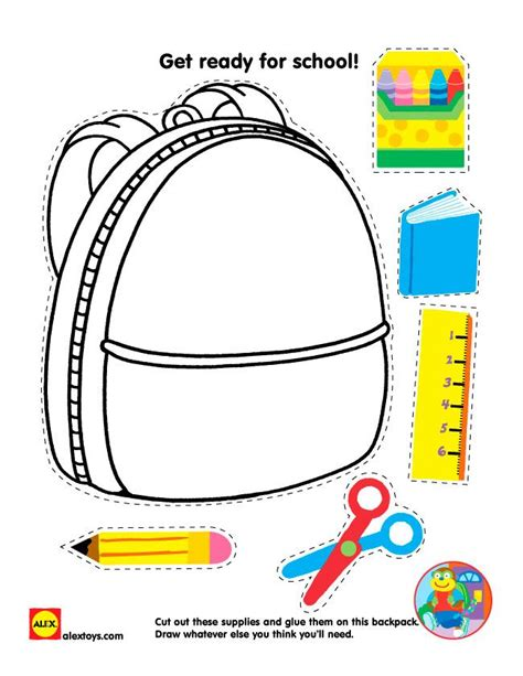 school stationery coloring pages back to school printable cut and paste school supplies
