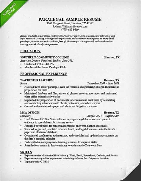 Paralegal Resume Samples – Entry Level Paralegal Resume Sample (resumecompanion.com