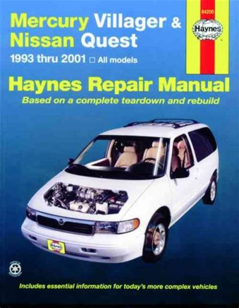 motor auto repair manual 2001 nissan quest regenerative braking mercury villager nissan quest 1993 2001 haynes service repair manual sagin workshop car