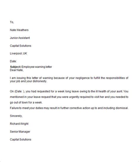 warning letter templates google docs ms word