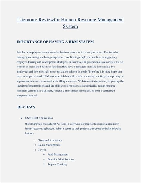Sle Of Journal Literature Review by Literature Review For Human Resource Management System