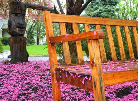 tiki bench tiki watches over jigsaw puzzle in flowers puzzles on