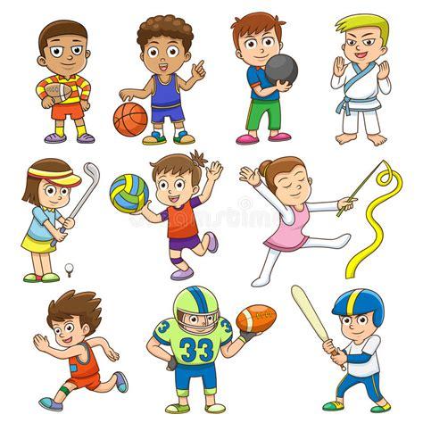 clipart bambini giocano illustrazione dei bambini giocano gli sport differenti