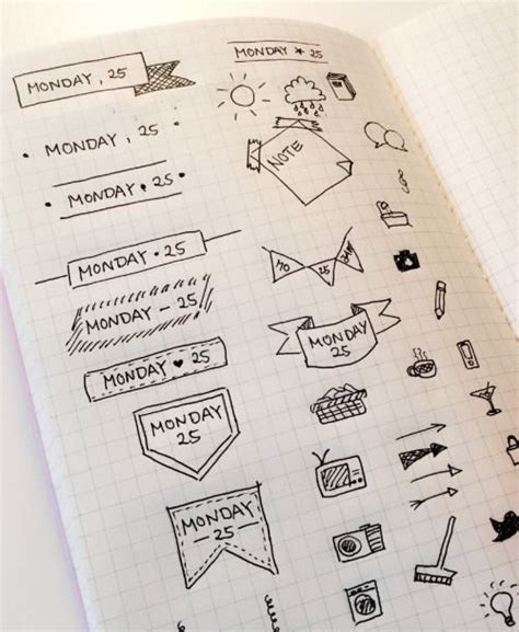 doodle draw journal header and date entry ideas doodle follow