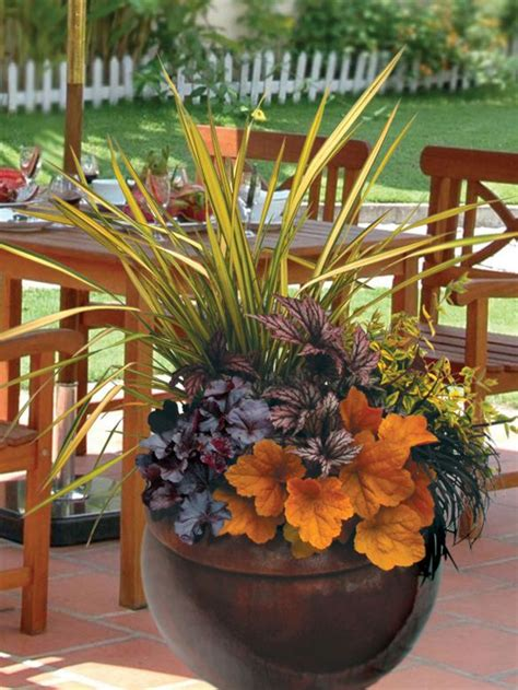 fall container gardening fall containers with grasses begonias and coral bells