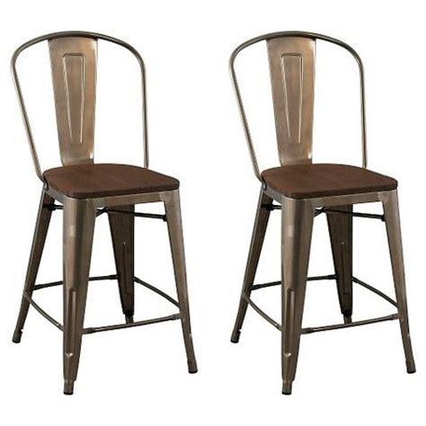 Carlisle Metal Bar Stool Set Of 2 by Carlisle 24 Quot Wood Seat Counter Stool Metal Set