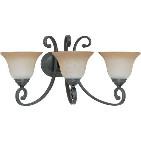 Glomar 3 Light Mahogany Bronze Vanity Light With Chagne Linen Washed Glass Hd 1265 The Home Glomar 3 Light Mahogany Bronze Vanity Light With Chagne Linen Washed Glass Hd 1265 The Home