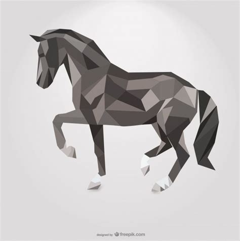 polygonal horse geometric triangle design vector free