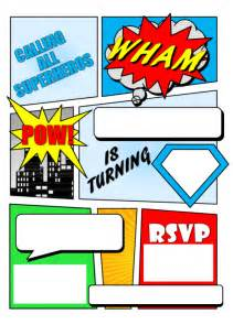 Free Printable Comic Template by Comic Book Invitation With Free Printable