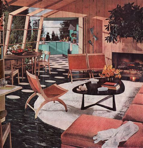50 S Style Home Decor by 1954 Armstrong Atomic Living Dining Room 1950s Living