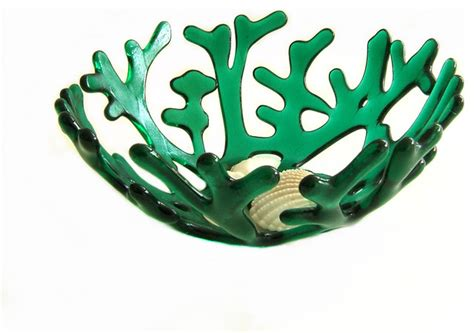 ruby red art glass coral bowl modern home decor art glass coral bowl in emerald green modern home