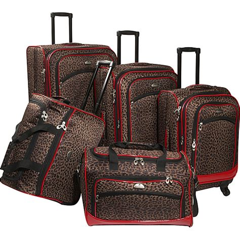 american flyer animal print 5 pc spinner luggage set