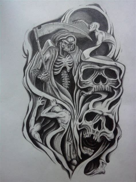 free skull tattoo designs for men evil half sleeve design by
