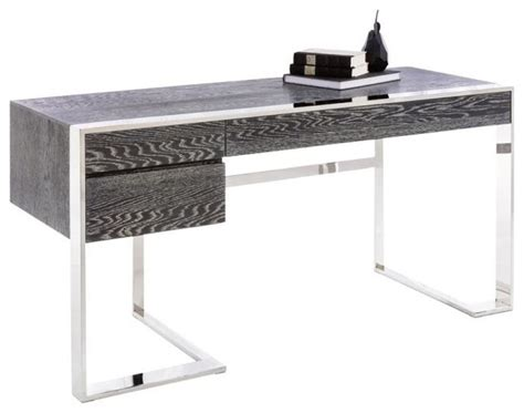 Modern Steel Desk Artefac Modern Desk German Oak Veneer And Polished Stainless Steel Base Reviews Houzz
