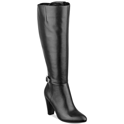 wide dress boots for marc fisher shayna wide calf dress boots in black lyst