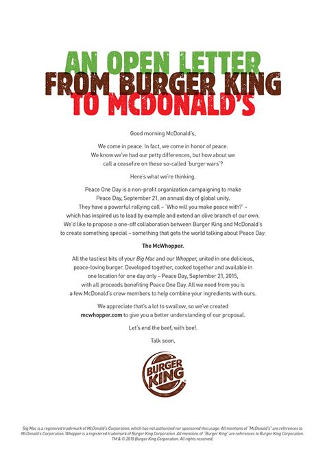 Complaint Letter Burger King Burger King Writes Open Letter To Mcdonald S Asking For A Truce Creates The Mcwhopper Sick